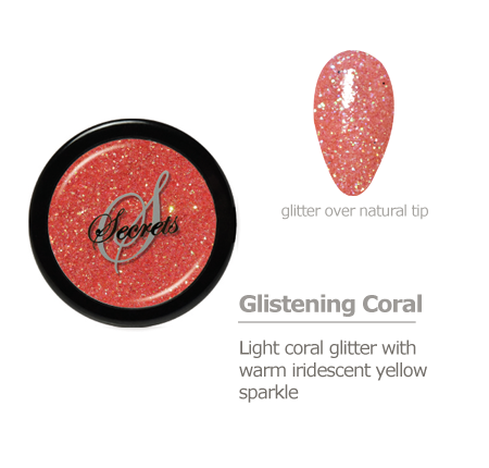 Coral glitter color with yellow sparkle