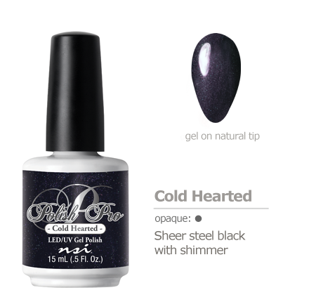 Sheer steel black with shimmer gel polish