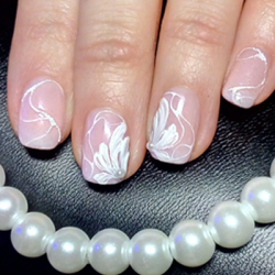 Easy Pearly Flower Nail Art Design